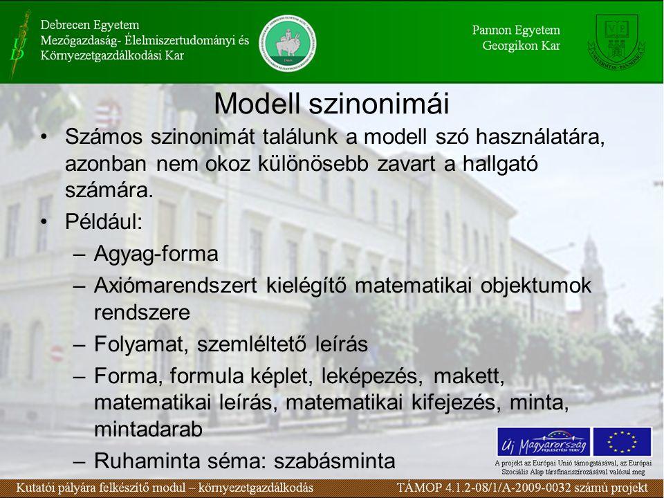 Modell szinonimái Számos szinonimát találunk a modell szó használatára, azonban nem okoz különösebb zavart a hallgató számára. Például: –Agyag-forma –