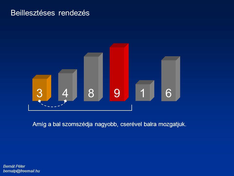 Bernát Péter bernatp@freemail.hu 1 3 4 8 6 9 Beillesztéses rendezés Amíg a bal szomszédja nagyobb, cserével balra mozgatjuk.