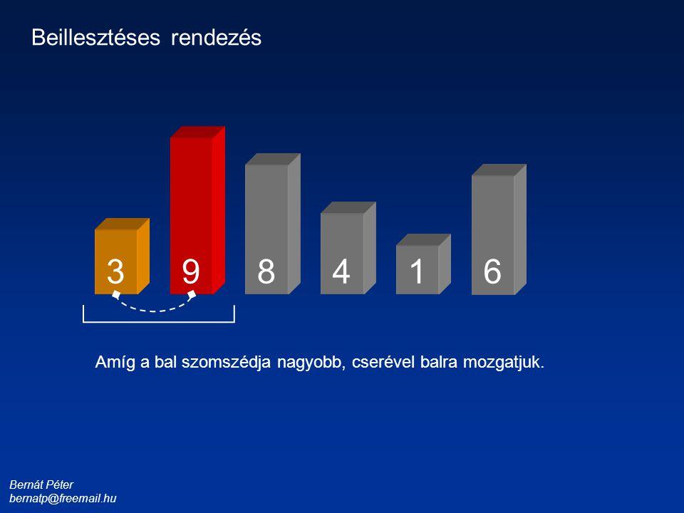 Bernát Péter bernatp@freemail.hu 1 3 4 6 9 Beillesztéses rendezés Amíg a bal szomszédja nagyobb, cserével balra mozgatjuk.