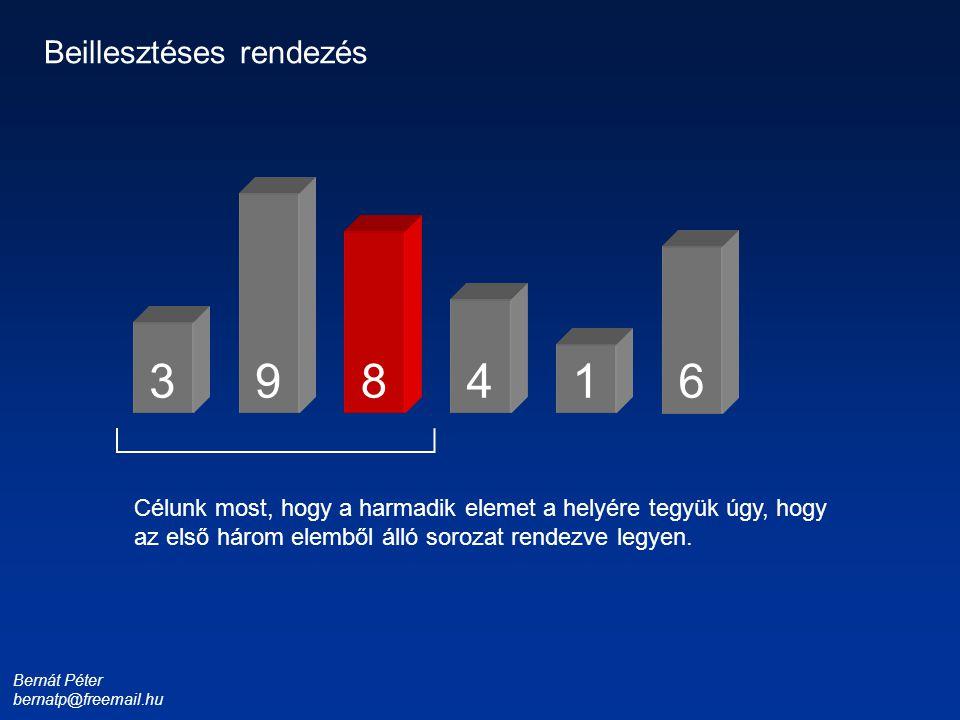 Bernát Péter bernatp@freemail.hu 1 3 4 6 9 Beillesztéses rendezés Célunk most, hogy a harmadik elemet a helyére tegyük úgy, hogy az első három elemből