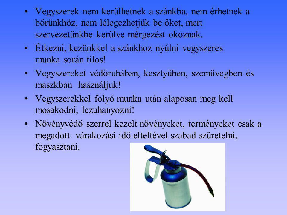 Vegyszerek nem kerülhetnek a szánkba, nem érhetnek a bőrünkhöz, nem lélegezhetjük be őket, mert szervezetünkbe kerülve mérgezést okoznak. Étkezni, kez