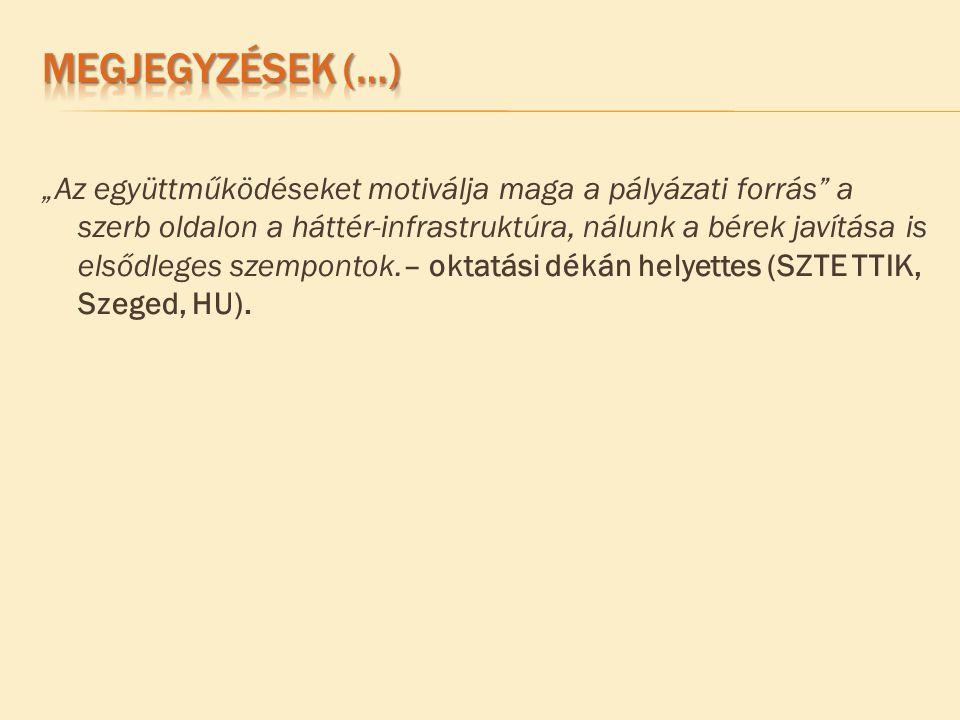 """""""Az együttműködéseket motiválja maga a pályázati forrás a szerb oldalon a háttér-infrastruktúra, nálunk a bérek javítása is elsődleges szempontok.– oktatási dékán helyettes (SZTE TTIK, Szeged, HU)."""