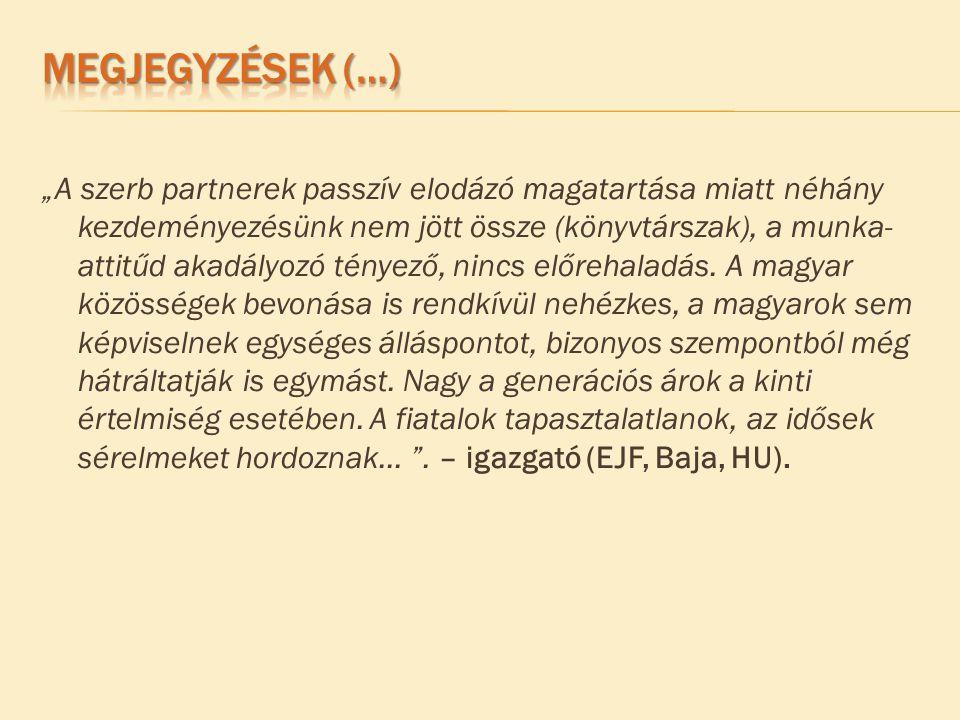"""""""A szerb partnerek passzív elodázó magatartása miatt néhány kezdeményezésünk nem jött össze (könyvtárszak), a munka- attitűd akadályozó tényező, nincs előrehaladás."""