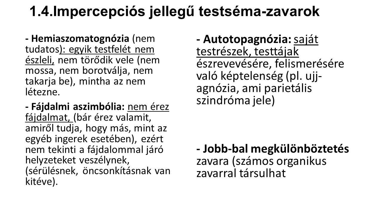 1.4.Impercepciós jellegű testséma-zavarok - Hemiaszomatognózia (nem tudatos): egyik testfelét nem észleli, nem törődik vele (nem mossa, nem borotválja, nem takarja be), mintha az nem létezne.