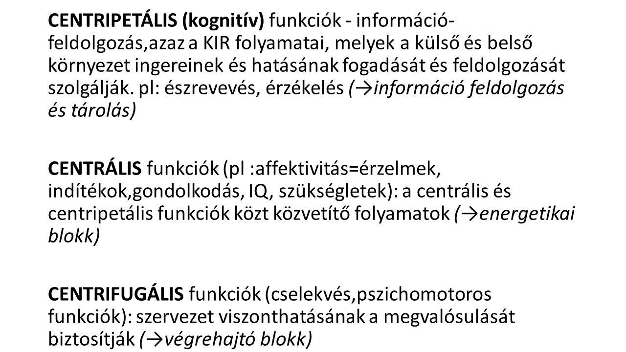 1.3.Taktilis impercepció Taktilis ahilognózia: a megtapintott tárgy anyagi minőségét nem ismeri fel Taktilis amorfognózia: méretét, térbeli sajátosságait nem ismeri fel Taktilis agnózia (asztereognozia): a tárgyat nem ismeri fel, bár anyagi minőségét, méretét, formai sajátosságait igen.