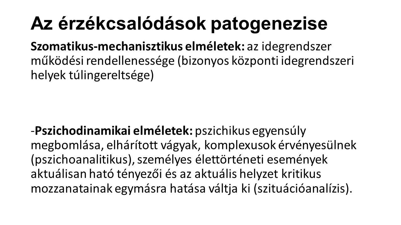 Az érzékcsalódások patogenezise Szomatikus-mechanisztikus elméletek: az idegrendszer működési rendellenessége (bizonyos központi idegrendszeri helyek túlingereltsége) -Pszichodinamikai elméletek: pszichikus egyensúly megbomlása, elhárított vágyak, komplexusok érvényesülnek (pszichoanalitikus), személyes élettörténeti események aktuálisan ható tényezői és az aktuális helyzet kritikus mozzanatainak egymásra hatása váltja ki (szituációanalízis).