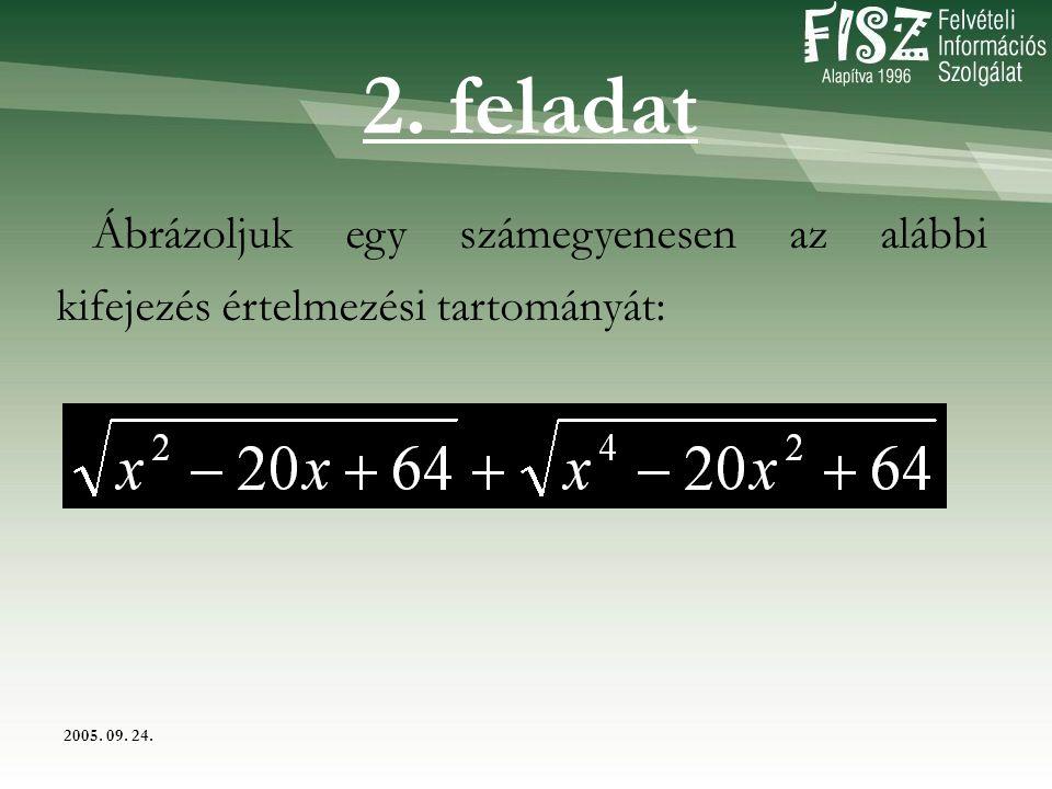 2005. 09. 24. Ábrázoljuk egy számegyenesen az alábbi kifejezés értelmezési tartományát: 2. feladat