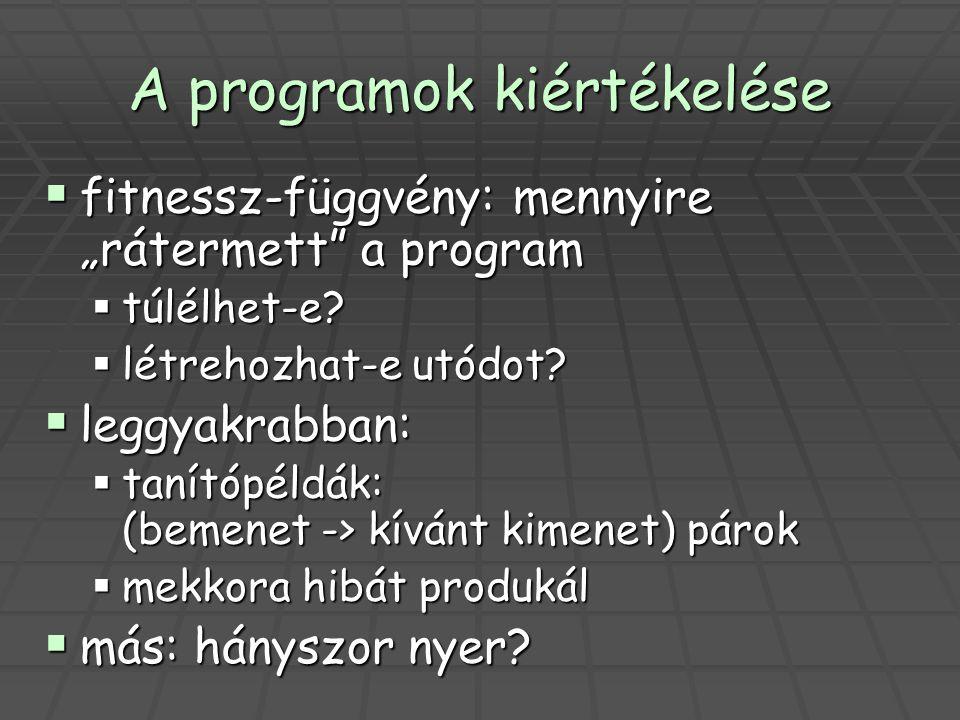 """A programok kiértékelése  fitnessz-függvény: mennyire """"rátermett"""" a program  túlélhet-e?  létrehozhat-e utódot?  leggyakrabban:  tanítópéldák: (b"""