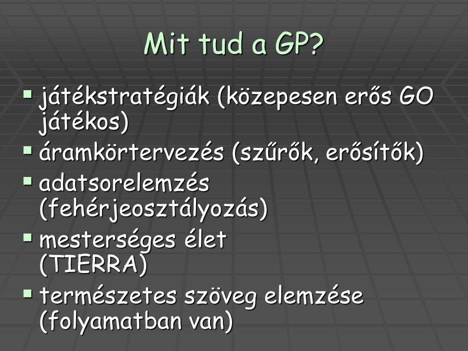 Mit tud a GP?  játékstratégiák (közepesen erős GO játékos)  áramkörtervezés (szűrők, erősítők)  adatsorelemzés (fehérjeosztályozás)  mesterséges é