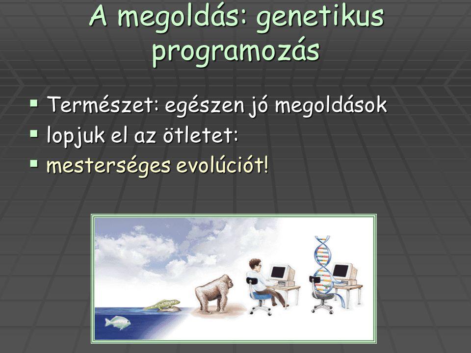 A megoldás: genetikus programozás  Természet: egészen jó megoldások  lopjuk el az ötletet:  mesterséges evolúciót!