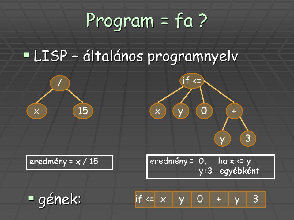 Program = fa ? / x15 if <= xy0+ y eredmény = x / 15 eredmény = 0, ha x <= y y+3 egyébként  gének: 3 if <=xy0+y3  LISP – általános programnyelv