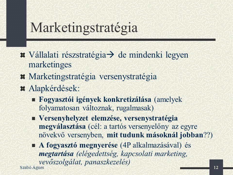Szabó Ágnes12 Marketingstratégia Vállalati részstratégia  de mindenki legyen marketinges Marketingstratégia versenystratégia Alapkérdések: Fogyasztói