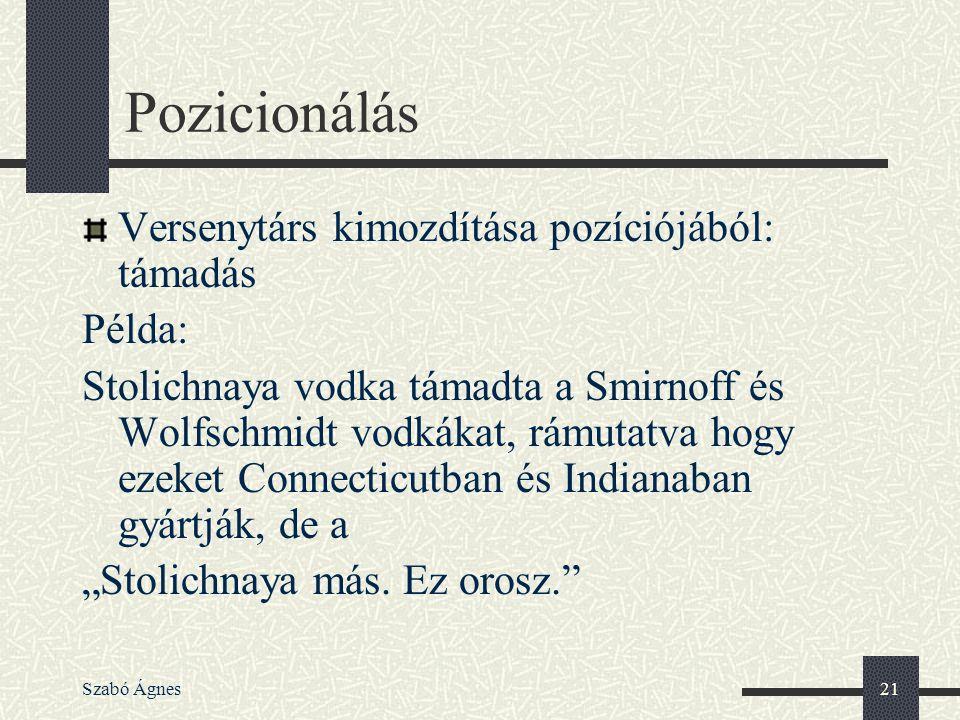 Szabó Ágnes21 Pozicionálás Versenytárs kimozdítása pozíciójából: támadás Példa: Stolichnaya vodka támadta a Smirnoff és Wolfschmidt vodkákat, rámutatv