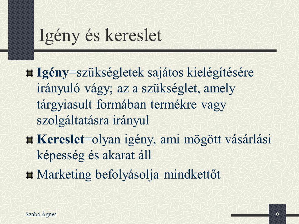 Szabó Ágnes9 Igény és kereslet Igény=szükségletek sajátos kielégítésére irányuló vágy; az a szükséglet, amely tárgyiasult formában termékre vagy szolg