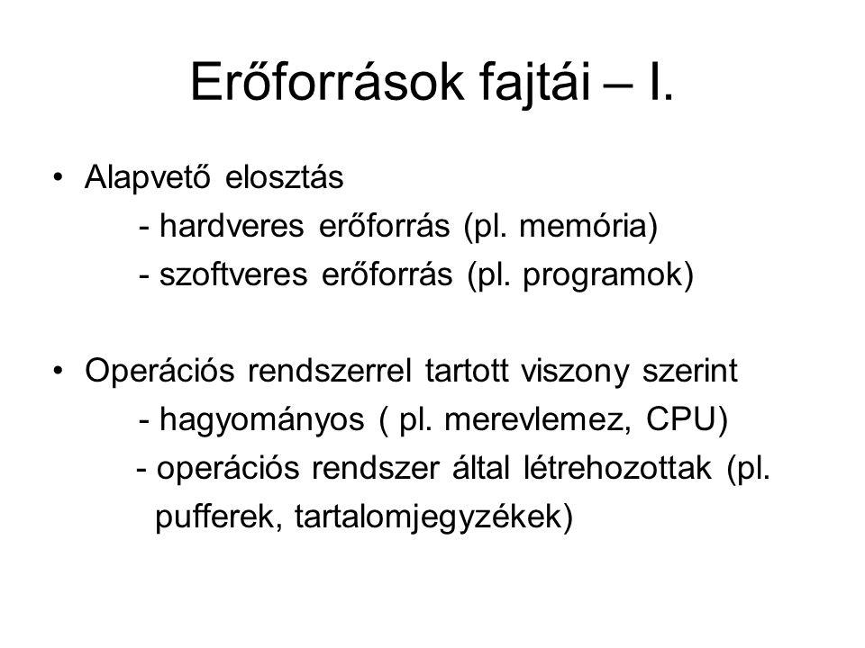 Erőforrások fajtái – I. Alapvető elosztás - hardveres erőforrás (pl. memória) - szoftveres erőforrás (pl. programok) Operációs rendszerrel tartott vis