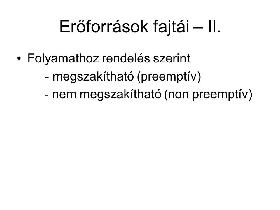 Erőforrások fajtái – II. Folyamathoz rendelés szerint - megszakítható (preemptív) - nem megszakítható (non preemptív)