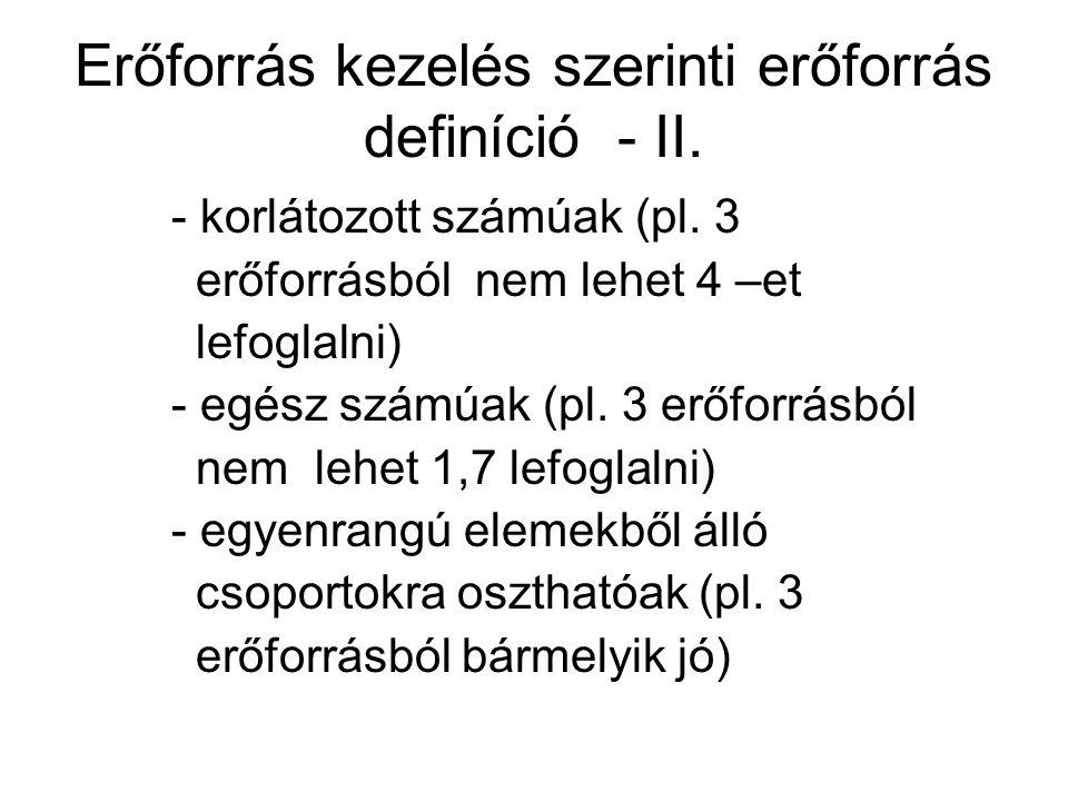 Erőforrás kezelés szerinti erőforrás definíció - II. - korlátozott számúak (pl. 3 erőforrásból nem lehet 4 –et lefoglalni) - egész számúak (pl. 3 erőf
