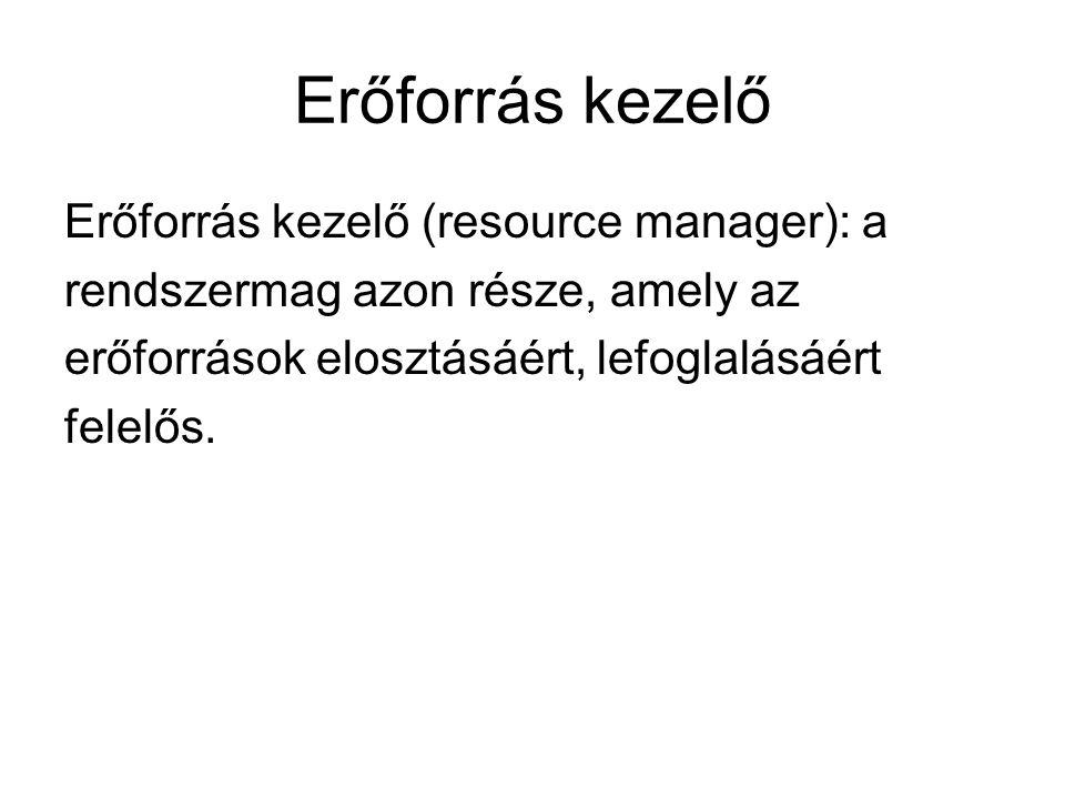 Erőforrás kezelő Erőforrás kezelő (resource manager): a rendszermag azon része, amely az erőforrások elosztásáért, lefoglalásáért felelős.