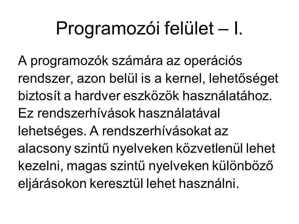 Programozói felület – II.