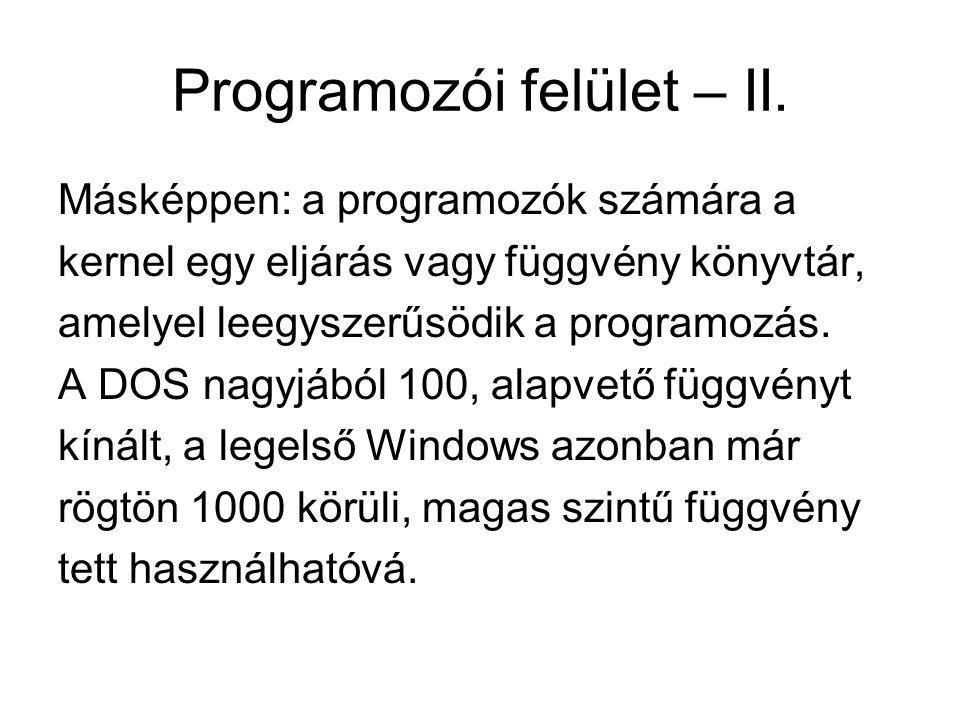 Programozói felület – II. Másképpen: a programozók számára a kernel egy eljárás vagy függvény könyvtár, amelyel leegyszerűsödik a programozás. A DOS n