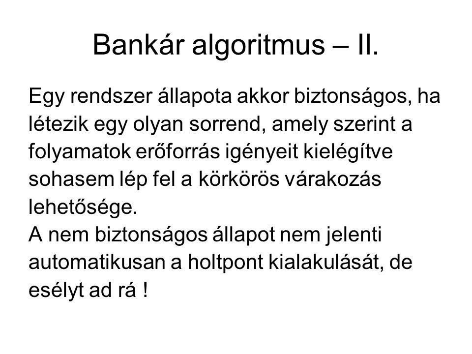Bankár algoritmus – II. Egy rendszer állapota akkor biztonságos, ha létezik egy olyan sorrend, amely szerint a folyamatok erőforrás igényeit kielégítv