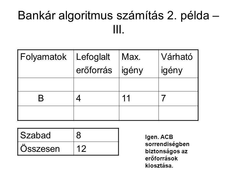 Bankár algoritmus számítás 2. példa – III. FolyamatokLefoglalt erőforrás Max. igény Várható igény B4117 Szabad8 Összesen12 Igen. ACB sorrendiségben bi