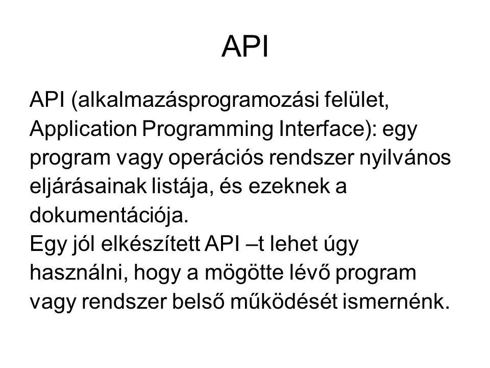 API API (alkalmazásprogramozási felület, Application Programming Interface): egy program vagy operációs rendszer nyilvános eljárásainak listája, és ez