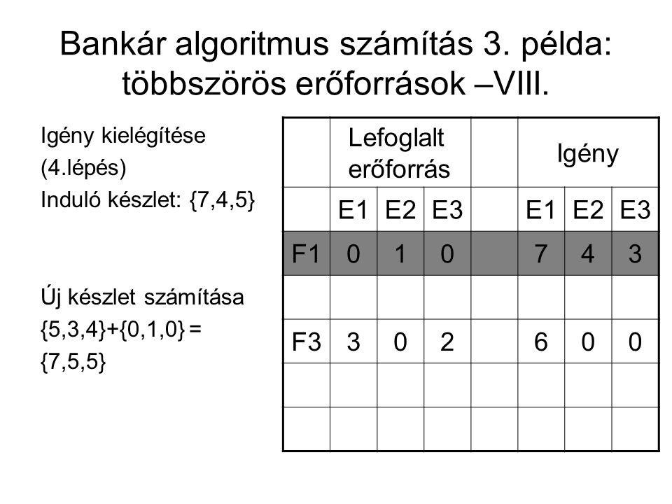 Bankár algoritmus számítás 3. példa: többszörös erőforrások –VIII. Igény kielégítése (4.lépés) Induló készlet: {7,4,5} Új készlet számítása {5,3,4}+{0