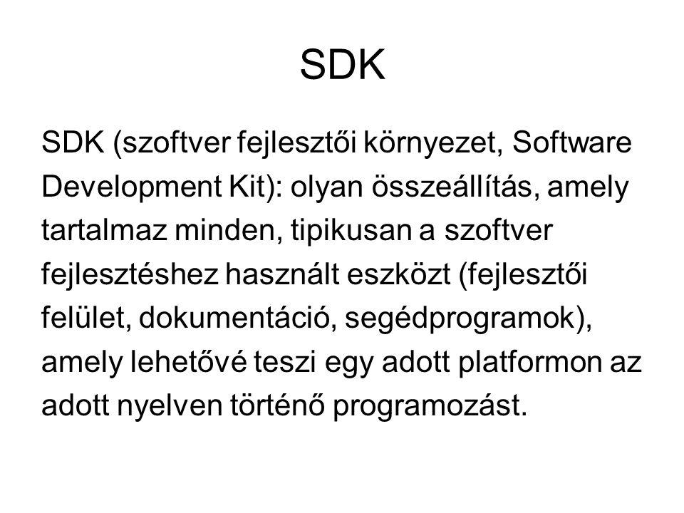 SDK SDK (szoftver fejlesztői környezet, Software Development Kit): olyan összeállítás, amely tartalmaz minden, tipikusan a szoftver fejlesztéshez hasz