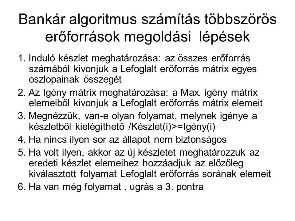 Bankár algoritmus számítás többszörös erőforrások megoldási lépések 1. Induló készlet meghatározása: az összes erőforrás számából kivonjuk a Lefoglalt
