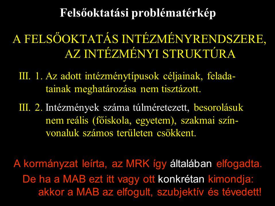 Felsőoktatási problématérkép A FELSŐOKTATÁS INTÉZMÉNYRENDSZERE, AZ INTÉZMÉNYI STRUKTÚRA III.