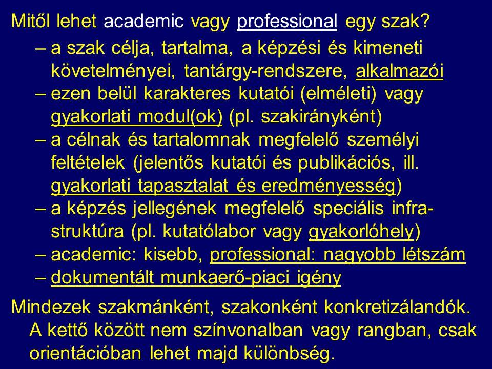 Mitől lehet academic vagy professional egy szak.