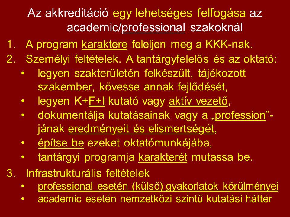 Az akkreditáció egy lehetséges felfogása az academic/professional szakoknál 1.A program karaktere feleljen meg a KKK-nak.