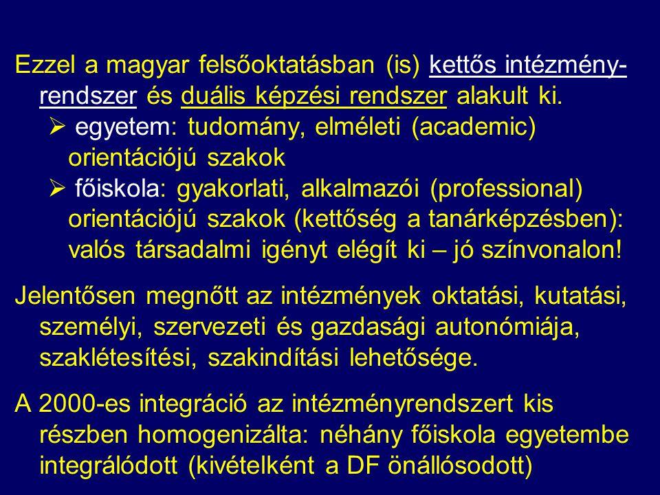 Ezzel a magyar felsőoktatásban (is) kettős intézmény- rendszer és duális képzési rendszer alakult ki.