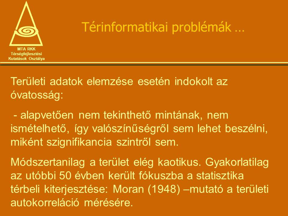Térinformatikai problémák … MTA RKK Térségfejlesztési Kutatások Osztálya Területi adatok elemzése esetén indokolt az óvatosság: - alapvetően nem tekin
