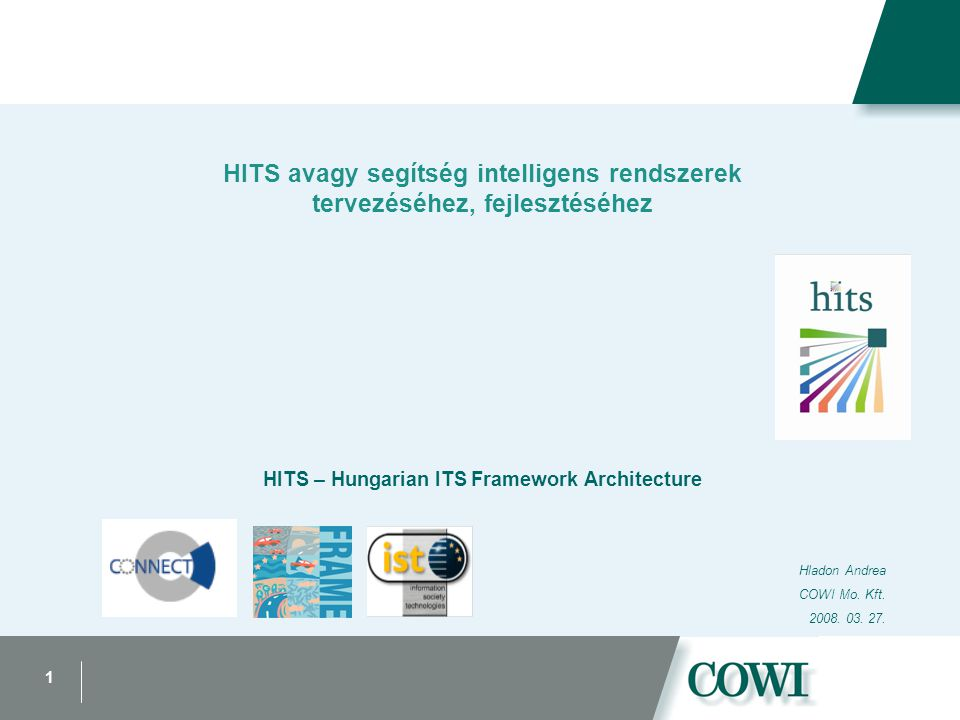 1 HITS avagy segítség intelligens rendszerek tervezéséhez, fejlesztéséhez HITS – Hungarian ITS Framework Architecture Hladon Andrea COWI Mo.