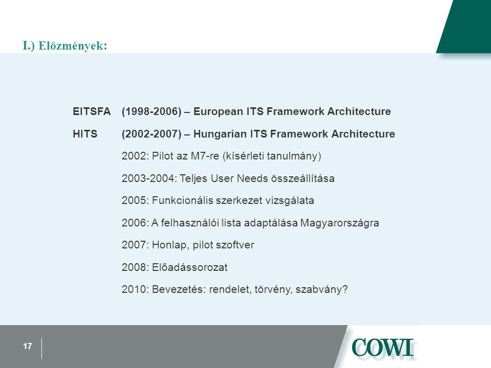17 I.) Előzmények : EITSFA(1998-2006) – European ITS Framework Architecture HITS(2002-2007) – Hungarian ITS Framework Architecture 2002: Pilot az M7-re (kísérleti tanulmány) 2003-2004: Teljes User Needs összeállítása 2005: Funkcionális szerkezet vizsgálata 2006: A felhasználói lista adaptálása Magyarországra 2007: Honlap, pilot szoftver 2008: Előadássorozat 2010: Bevezetés: rendelet, törvény, szabvány?