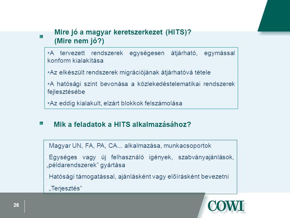 26 Mire jó a magyar keretszerkezet (HITS)? (Mire nem jó?) A tervezett rendszerek egységesen átjárható, egymással konform kialakítása Az elkészült rend