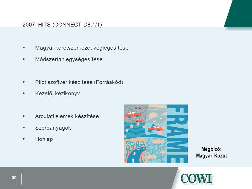 30 2007: HITS (CONNECT D8.1/1)  Magyar keretszerkezet véglegesítése  Módszertan egységesítése  Pilot szoftver készítése (Forráskód)  Kezelői kézikönyv  Arculati elemek készítése  Szóróanyagok  Honlap Megbízó: Magyar Közút
