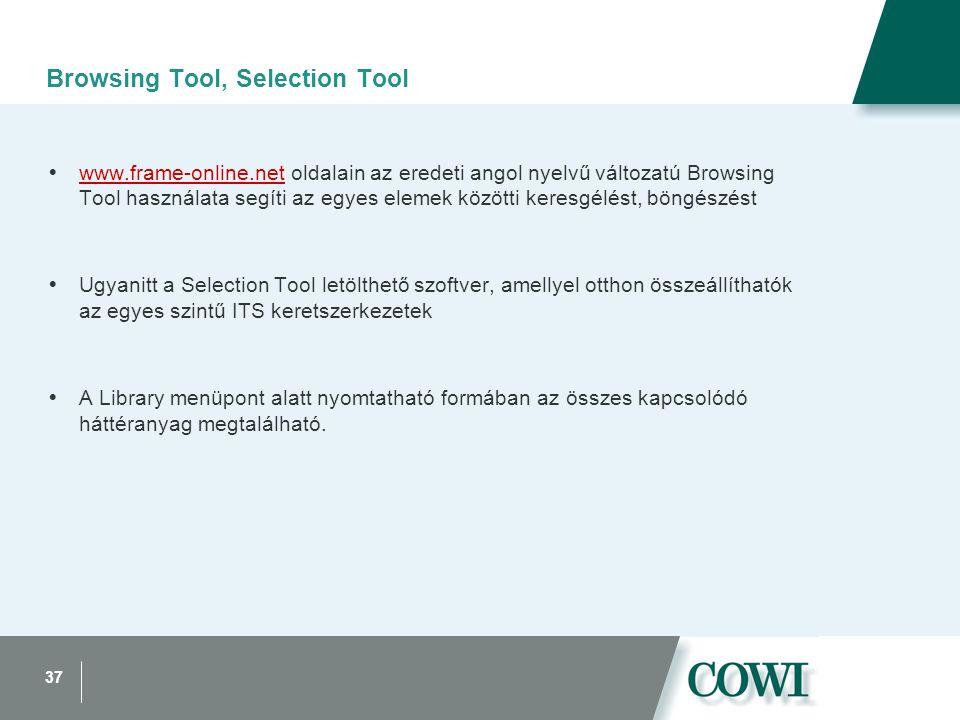 37 Browsing Tool, Selection Tool  www.frame-online.net oldalain az eredeti angol nyelvű változatú Browsing Tool használata segíti az egyes elemek közötti keresgélést, böngészést www.frame-online.net  Ugyanitt a Selection Tool letölthető szoftver, amellyel otthon összeállíthatók az egyes szintű ITS keretszerkezetek  A Library menüpont alatt nyomtatható formában az összes kapcsolódó háttéranyag megtalálható.