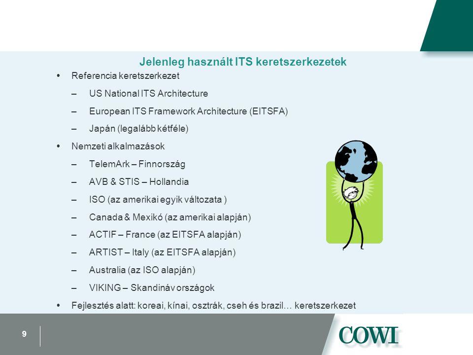 9 Jelenleg használt ITS keretszerkezetek  Referencia keretszerkezet –US National ITS Architecture –European ITS Framework Architecture (EITSFA) –Japán (legalább kétféle)  Nemzeti alkalmazások –TelemArk – Finnország –AVB & STIS – Hollandia –ISO (az amerikai egyik változata ) –Canada & Mexikó (az amerikai alapján) –ACTIF – France (az EITSFA alapján) –ARTIST – Italy (az EITSFA alapján) –Australia (az ISO alapján) –VIKING – Skandináv országok  Fejlesztés alatt: koreai, kínai, osztrák, cseh és brazil… keretszerkezet
