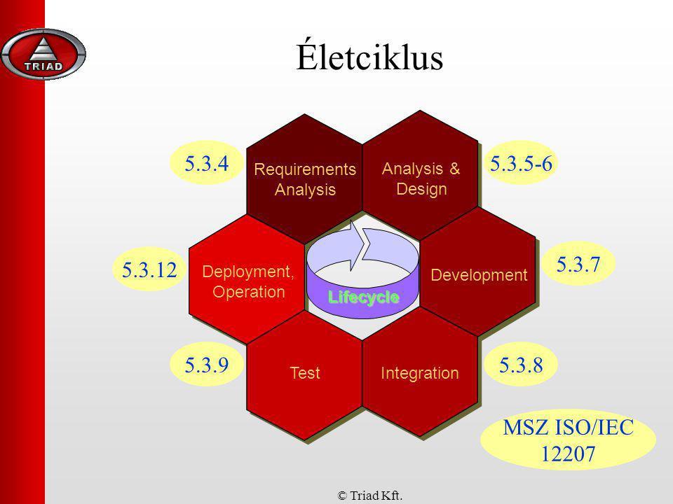 © Triad Kft. Életciklus Requirements Analysis Deployment, Operation Lifecycle Analysis & Design Development TestIntegration 5.3.4 MSZ ISO/IEC 12207 5.