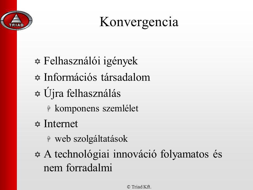 © Triad Kft. Konvergencia  Felhasználói igények  Információs társadalom  Újra felhasználás  komponens szemlélet  Internet  web szolgáltatások 