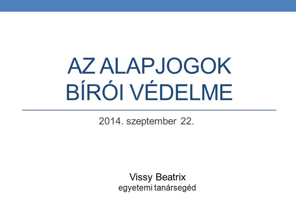 AZ ALAPJOGOK BÍRÓI VÉDELME 2014. szeptember 22. Vissy Beatrix egyetemi tanársegéd