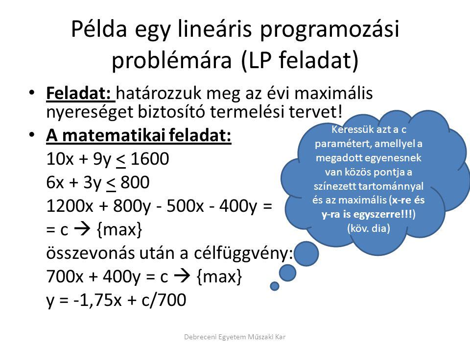 Példa egy lineáris programozási problémára (LP feladat) Feladat: határozzuk meg az évi maximális nyereséget biztosító termelési tervet.