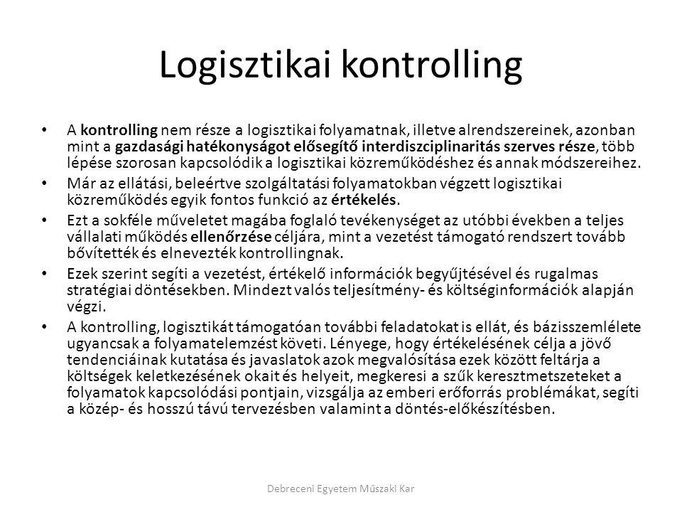 Logisztikai kontrolling A kontrolling nem része a logisztikai folyamatnak, illetve alrendszereinek, azonban mint a gazdasági hatékonyságot elősegítő interdiszciplinaritás szerves része, több lépése szorosan kapcsolódik a logisztikai közreműködéshez és annak módszereihez.