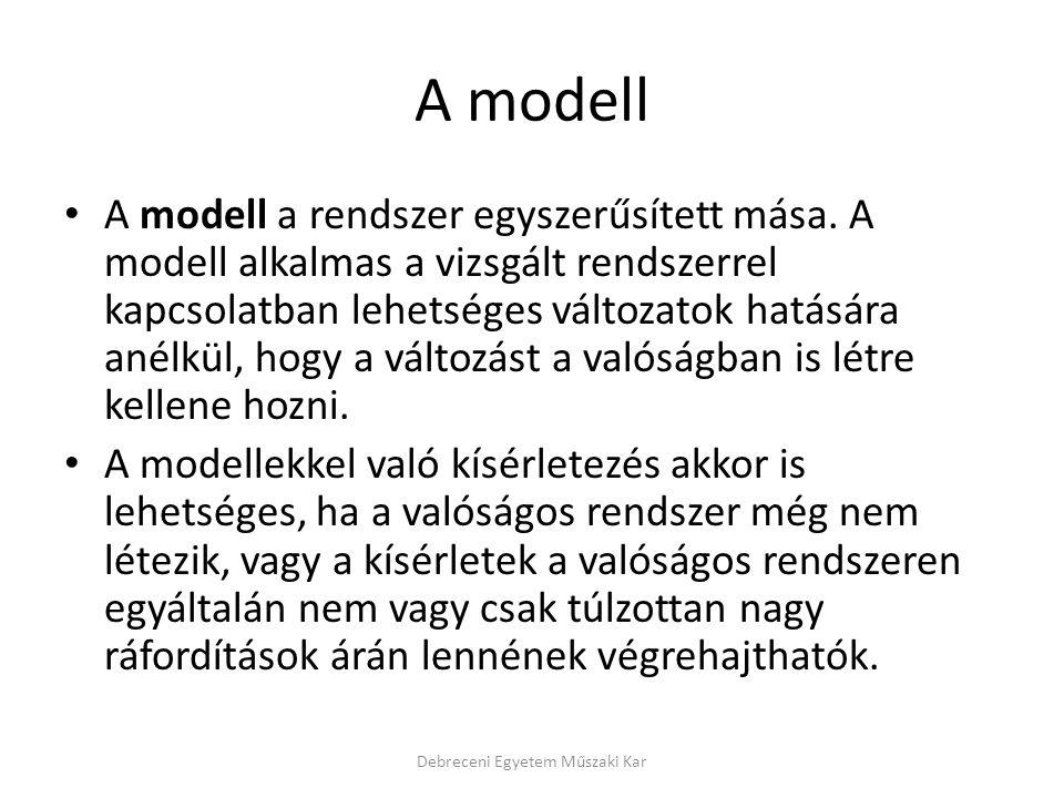 A modell A modell a rendszer egyszerűsített mása.