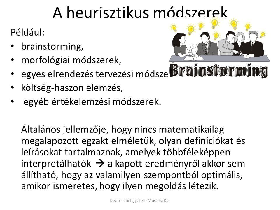 A heurisztikus módszerek Például: brainstorming, morfológiai módszerek, egyes elrendezés tervezési módszerek, költség-haszon elemzés, egyéb értékelemzési módszerek.