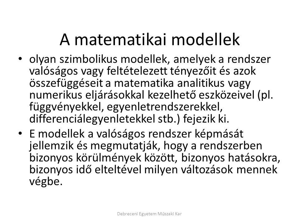 A matematikai modellek olyan szimbolikus modellek, amelyek a rendszer valóságos vagy feltételezett tényezőit és azok összefüggéseit a matematika analitikus vagy numerikus eljárásokkal kezelhető eszközeivel (pl.