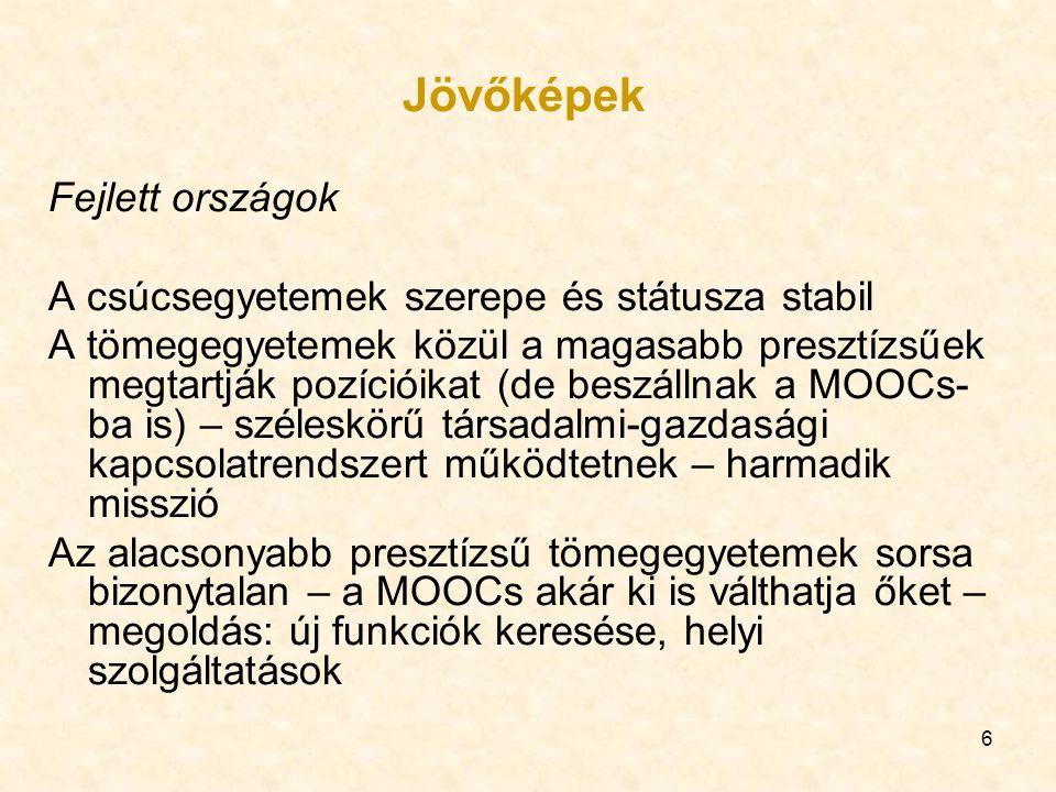 7 Feltörekvő országok További erőfeszítések a csúcsegyetemek létrehozására Tömegegyetemek kiépítése – erős MOOCs bevetéssel A felsőoktatási intézményeken kívüli széleskörű MOOCs, változatos formákban és funkciókkal Fejlődő országok Egy-egy csúcsegyetem létrehozása A tömegegyetemi rendszer létrehozása kimarad – a MOOCs tölti be a tömegoktatás funkcióját